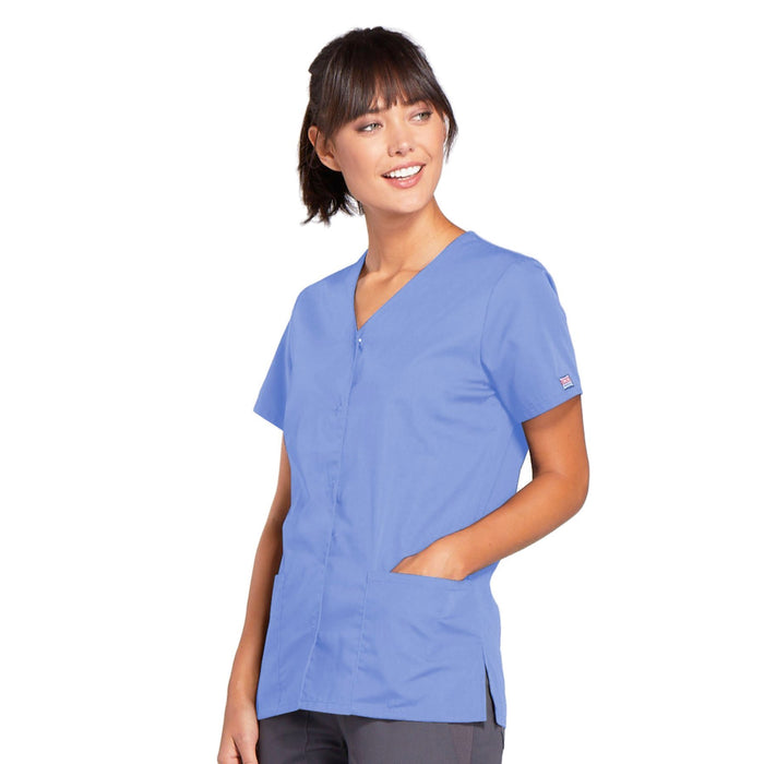 Cherokee Workwear 4770 Scrubs Top Women's Snap Front V-Neck Ciel Blue 3XL