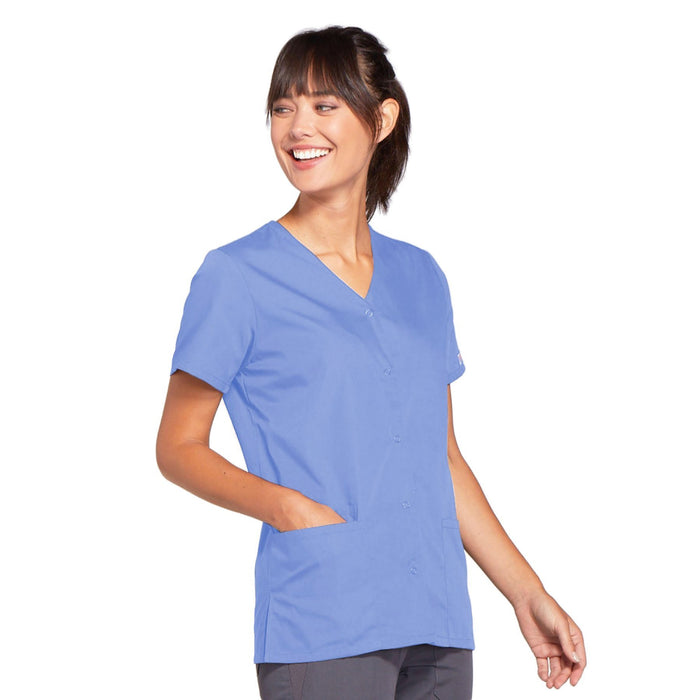 Cherokee Workwear 4770 Scrubs Top Women's Snap Front V-Neck Ciel Blue 4XL