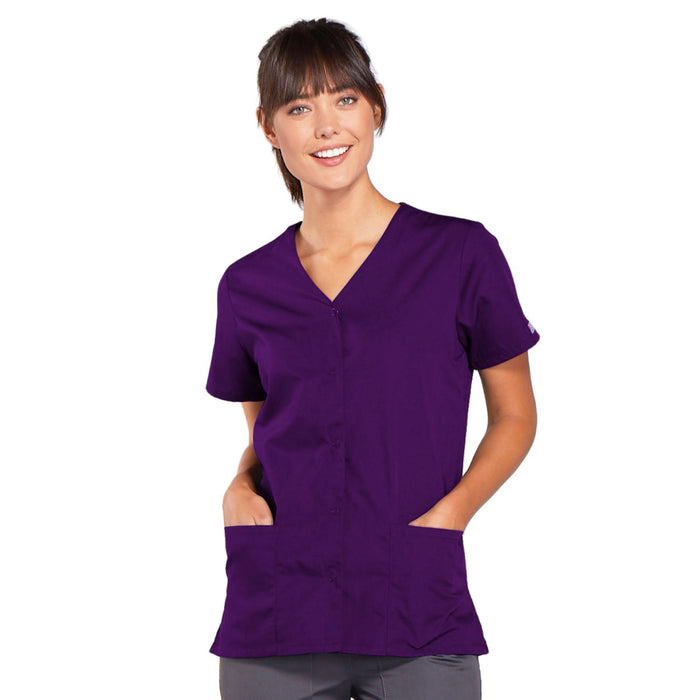 Cherokee Workwear 4770 Scrubs Top Women's Snap Front V-Neck Eggplant