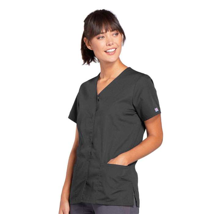 Cherokee Workwear 4770 Scrubs Top Women's Snap Front V-Neck Pewter 3XL
