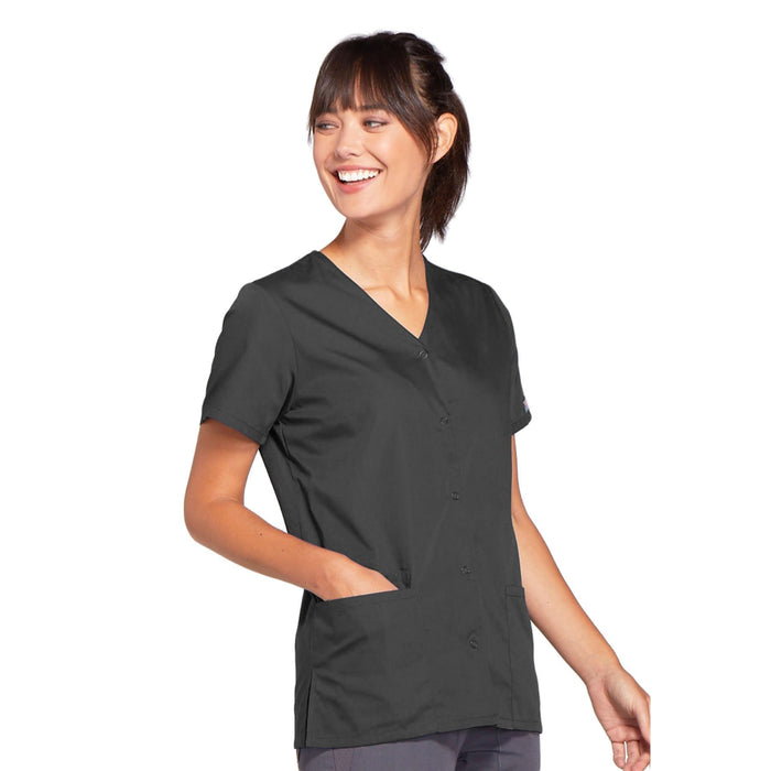 Cherokee Workwear 4770 Scrubs Top Women's Snap Front V-Neck Pewter 4XL