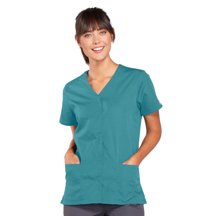 Cherokee Workwear 4770 Scrubs Top Women's Snap Front V-Neck Teal Blue