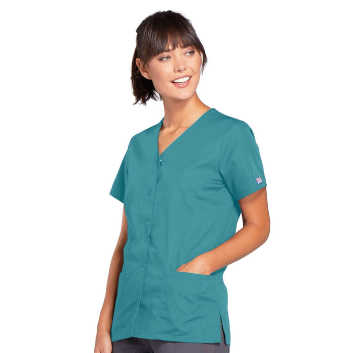 Cherokee Workwear 4770 Scrubs Top Women's Snap Front V-Neck Teal Blue 3XL