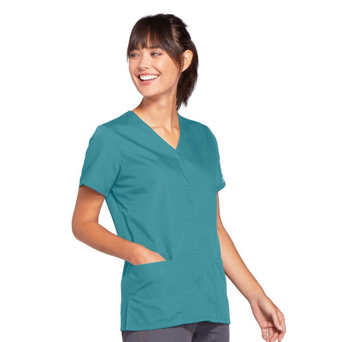 Cherokee Workwear 4770 Scrubs Top Women's Snap Front V-Neck Teal Blue 4XL