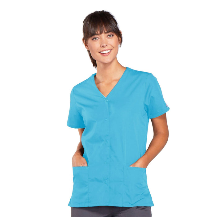 Cherokee Workwear 4770 Scrubs Top Women's Snap Front V-Neck Turquoise