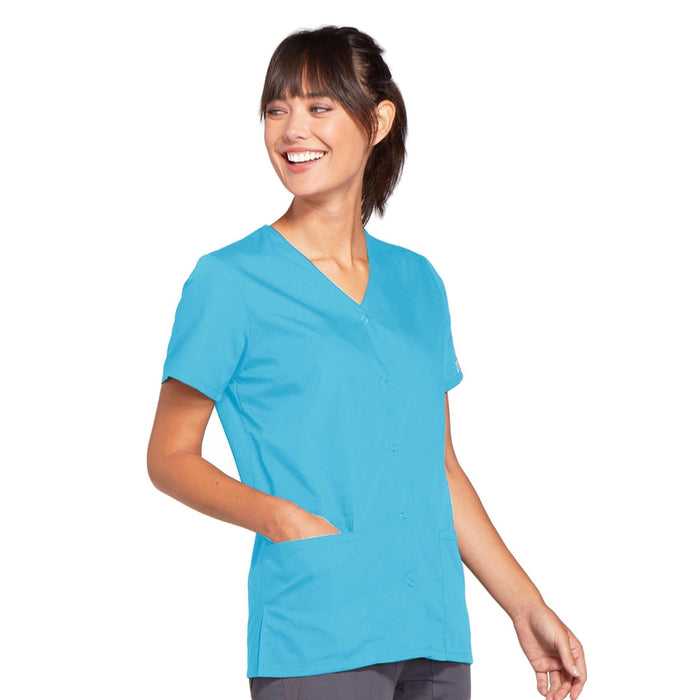 Cherokee Workwear 4770 Scrubs Top Women's Snap Front V-Neck Turquoise 4XL