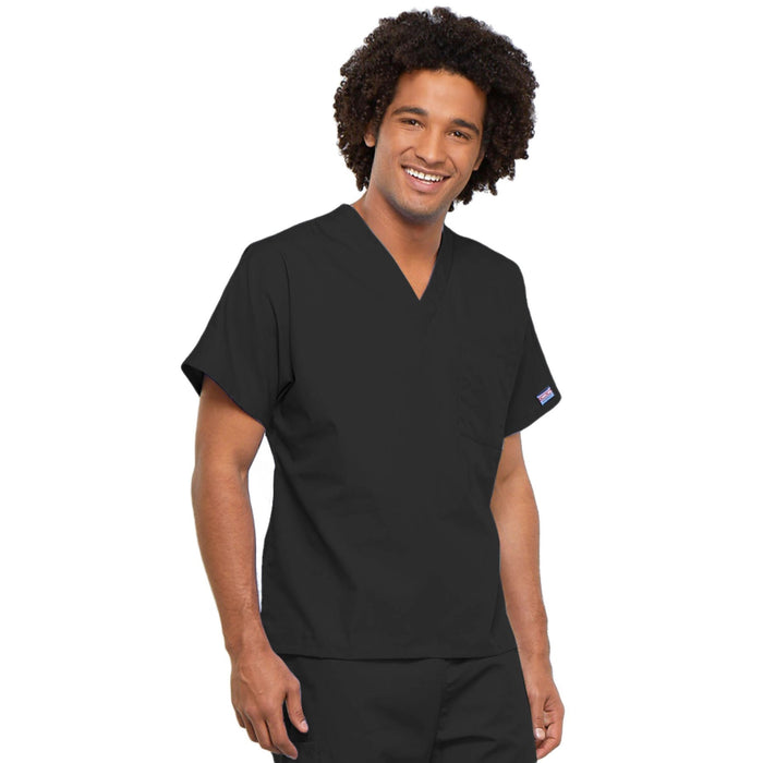 Cherokee Workwear 4777 Scrubs Top Unisex V-Neck Tunic. Black 4XL