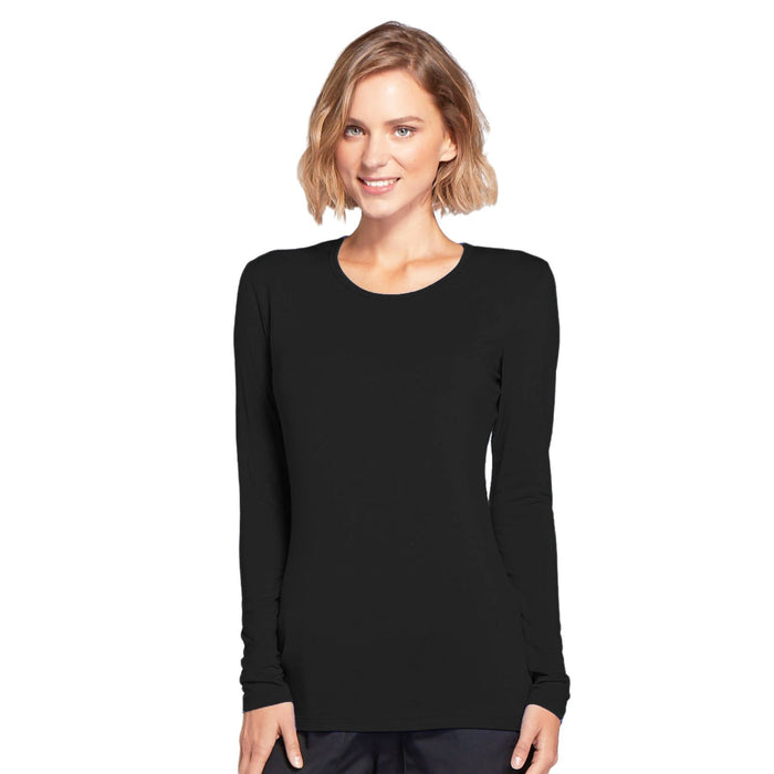 Cherokee Workwear 4881 Underscrubs Women's Long Sleeve Knit Tee Black