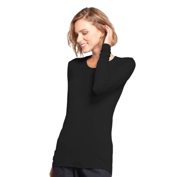 Cherokee Workwear 4881 Underscrubs Women's Long Sleeve Knit Tee Black L