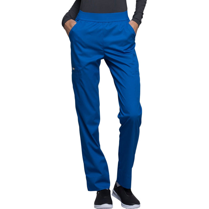 Cherokee Luxe CK040 Scrubs Pants Women's Natural-Rise Tapered Leg Royal