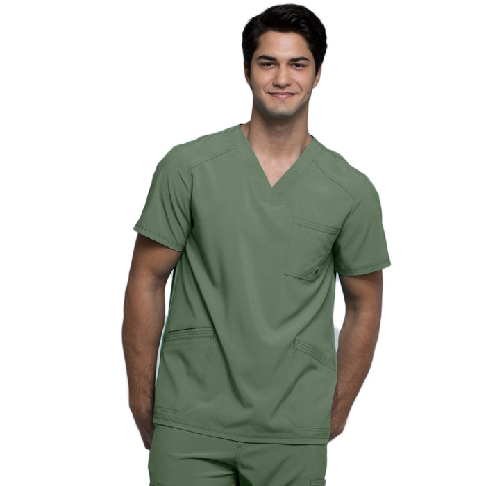 Cherokee Infinity CK900A Scrubs Top Men's V-Neck Olive