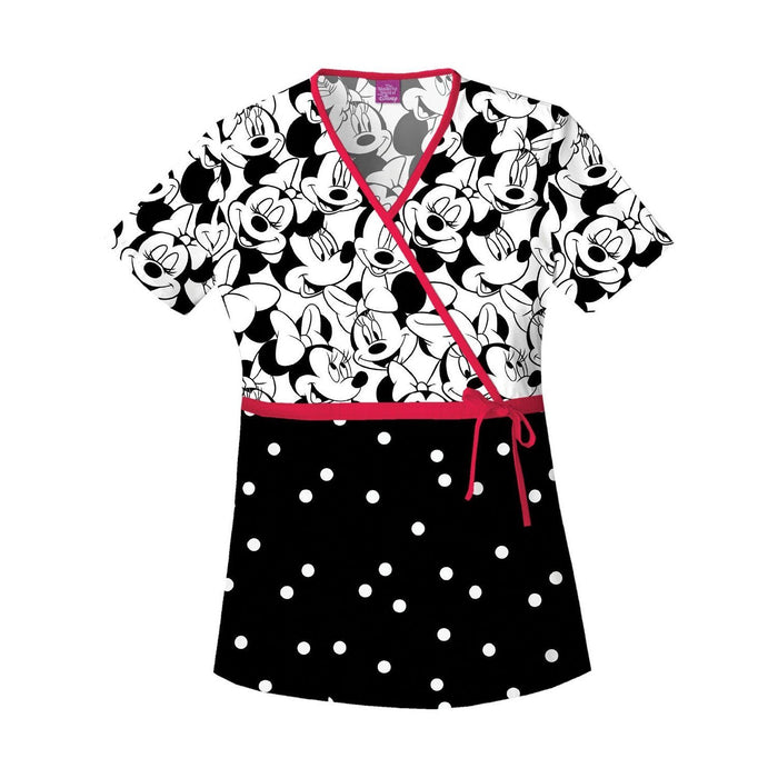 Cherokee Tooniforms Scrub Top Mock Wrap Minnie Mouse MKBM 6625C