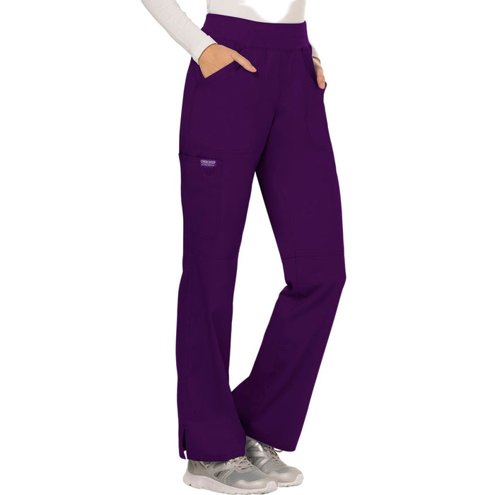 Cherokee Workwear Revolution WW110 Scrubs Pants Women's Mid Rise Straight Leg Pull-on Eggplant 4XL