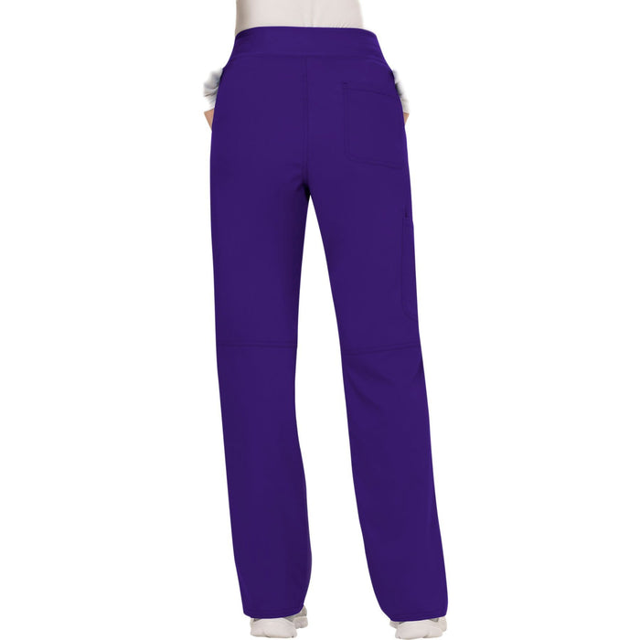 Cherokee Workwear Revolution WW110 Scrubs Pants Women's Mid Rise Straight Leg Pull-on Grape 3XL