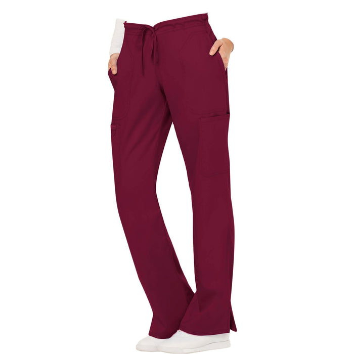 Cherokee Workwear Revolution WW120 Scrubs Pants Women's Mid Rise Moderate Flare Drawstring Wine L