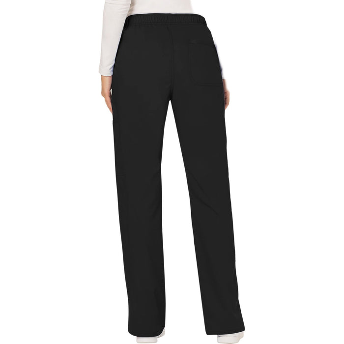 Cherokee Workwear Revolution WW120 Scrubs Pants Women's Mid Rise Moderate Flare Drawstring Black 3XL