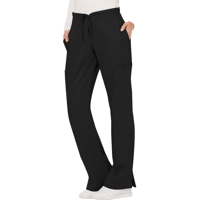 Cherokee Workwear Revolution WW120 Scrubs Pants Women's Mid Rise Moderate Flare Drawstring Black 4XL