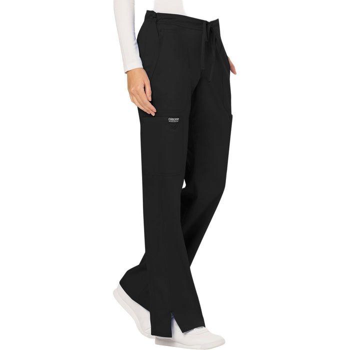 Cherokee Workwear Revolution WW120 Scrubs Pants Women's Mid Rise Moderate Flare Drawstring Black 5XL
