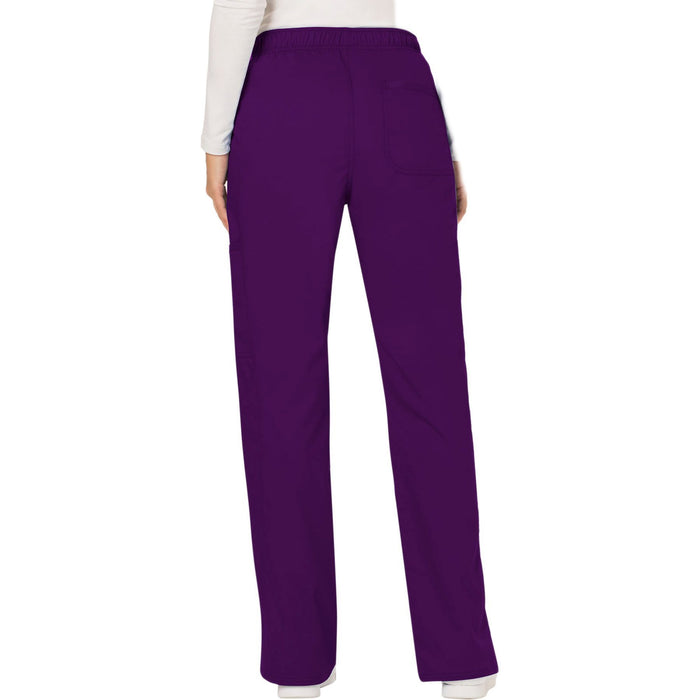 Cherokee Workwear Revolution WW120 Scrubs Pants Women's Mid Rise Moderate Flare Drawstring Eggplant 3XL