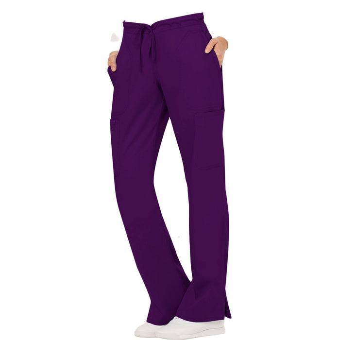 Cherokee Workwear Revolution WW120 Scrubs Pants Women's Mid Rise Moderate Flare Drawstring Eggplant 4XL