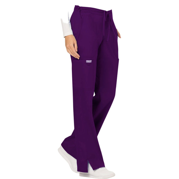 Cherokee Workwear Revolution WW120 Scrubs Pants Women's Mid Rise Moderate Flare Drawstring Eggplant 5XL