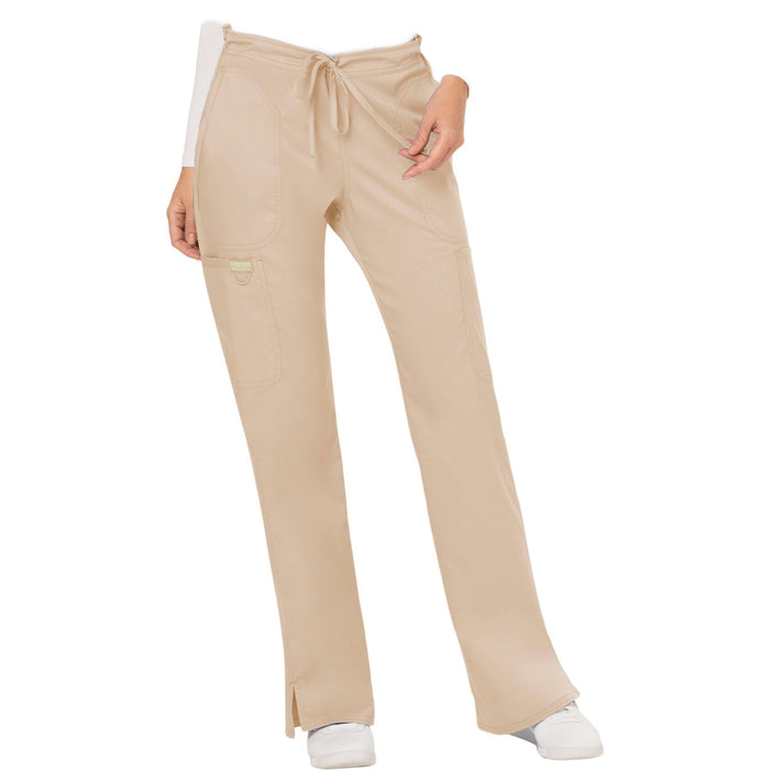 Cherokee Workwear Revolution WW120 Scrubs Pants Women's Mid Rise Moderate Flare Drawstring Khaki