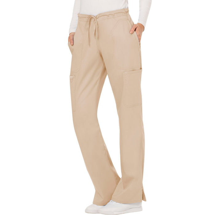 Cherokee Workwear Revolution WW120 Scrubs Pants Women's Mid Rise Moderate Flare Drawstring Khaki 4XL