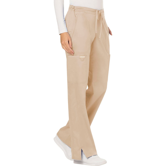 Cherokee Workwear Revolution WW120 Scrubs Pants Women's Mid Rise Moderate Flare Drawstring Khaki 5XL