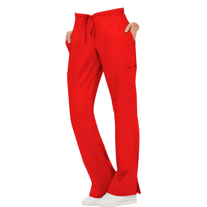Cherokee Workwear Revolution WW120 Scrubs Pants Women's Mid Rise Moderate Flare Drawstring Red 4XL