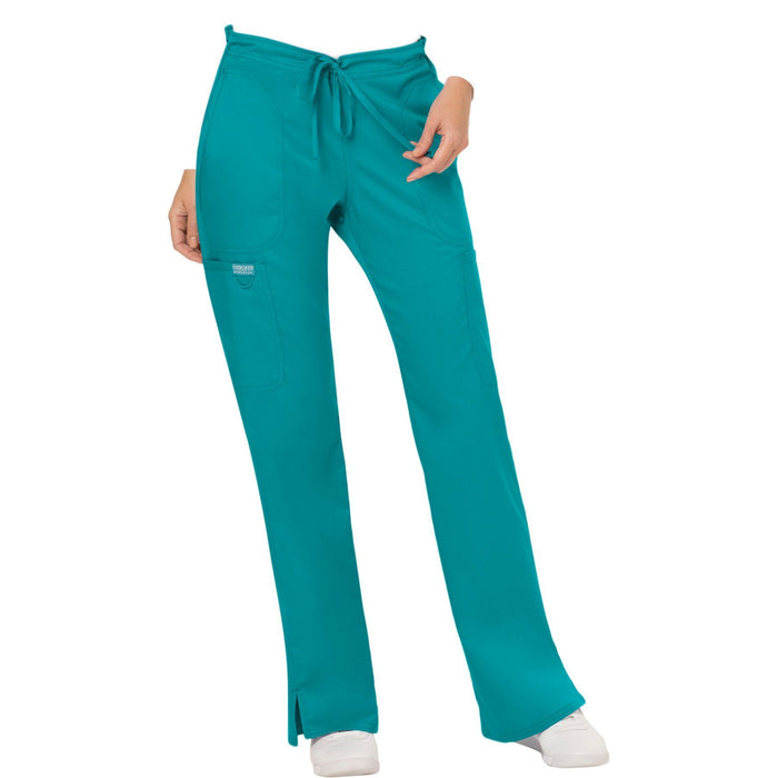 Cherokee Workwear Revolution WW120 Scrubs Pants Women's Mid Rise Flare Drawstring Teal Blue