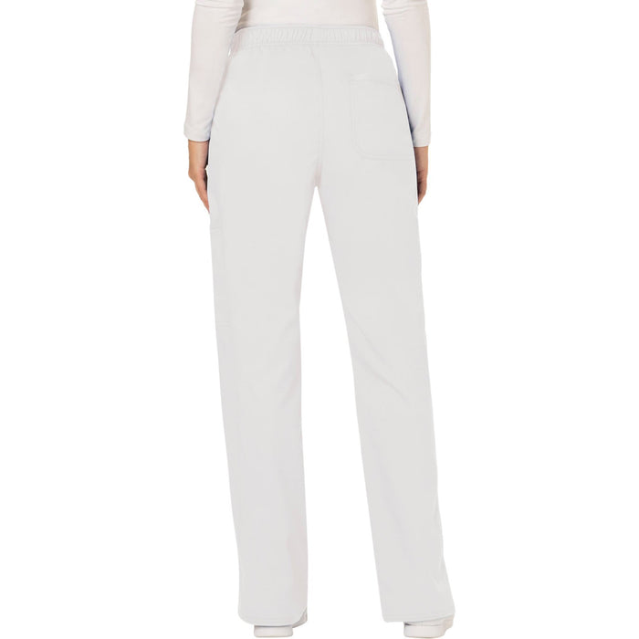 Cherokee Workwear Revolution WW120 Scrubs Pants Women's Mid Rise Moderate Flare Drawstring White 3XL