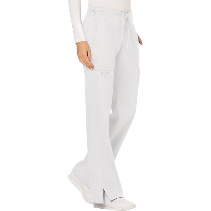 Cherokee Workwear Revolution WW120 Scrubs Pants Women's Mid Rise Moderate Flare Drawstring White 5XL