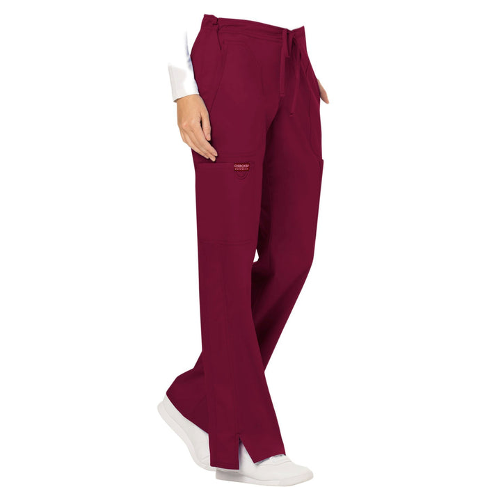 Cherokee Workwear Revolution WW120 Scrubs Pants Women's Mid Rise Moderate Flare Drawstring Wine 5XL
