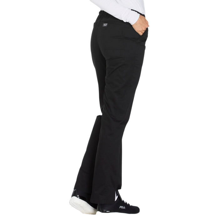 Cherokee Core Stretch WW130 Scrubs Pants Women's Mid Rise Straight Leg Drawstring Black 3XL