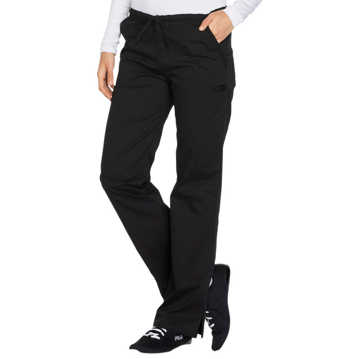 Cherokee Core Stretch WW130 Scrubs Pants Women's Mid Rise Straight Leg Drawstring Black 4XL