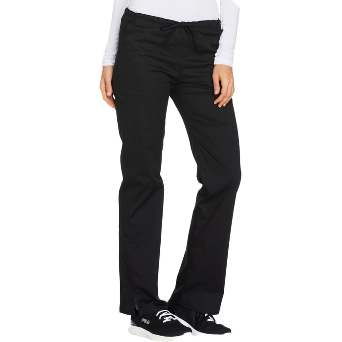 Cherokee Core Stretch WW130 Scrubs Pants Women's Mid Rise Straight Leg Drawstring Black 5XL