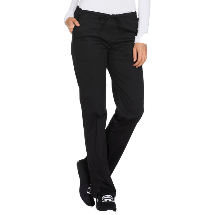 Cherokee Core Stretch WW130 Scrubs Pants Women's Mid Rise Straight Leg Drawstring Black