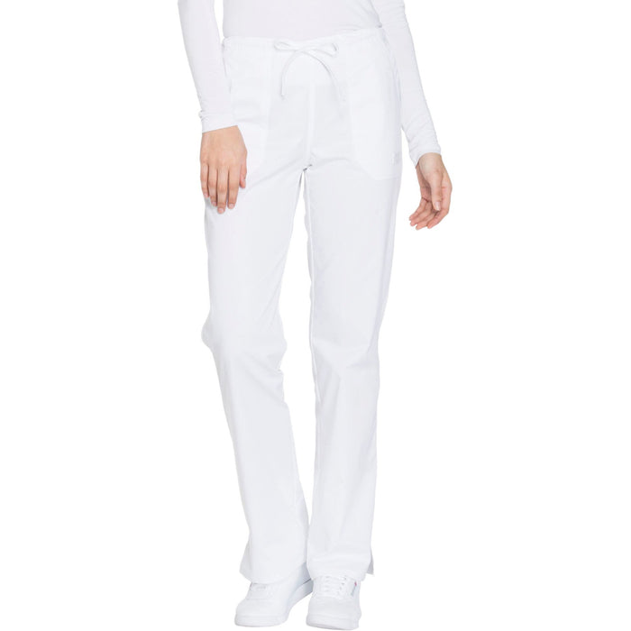Cherokee Core Stretch WW130 Scrubs Pants Women's Mid Rise Straight Leg Drawstring White