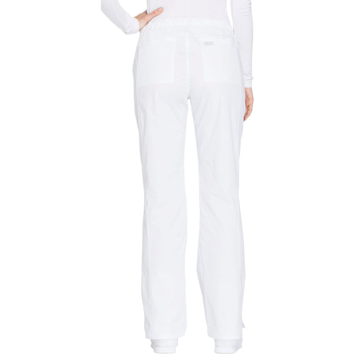 Cherokee Core Stretch WW130 Scrubs Pants Women's Mid Rise Straight Leg Drawstring White 3XL