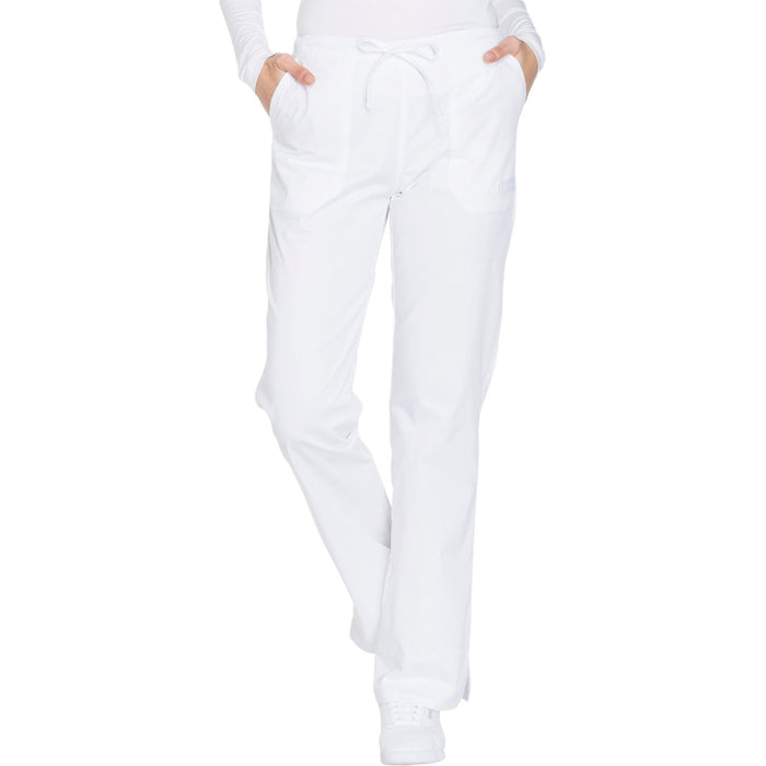 Cherokee Core Stretch WW130 Scrubs Pants Women's Mid Rise Straight Leg Drawstring White 4XL