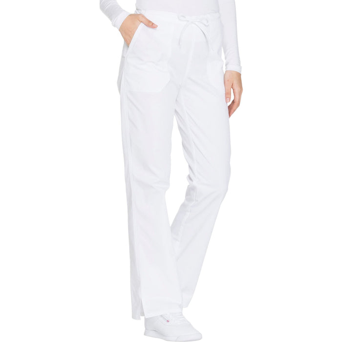 Cherokee Core Stretch WW130 Scrubs Pants Women's Mid Rise Straight Leg Drawstring White 5XL