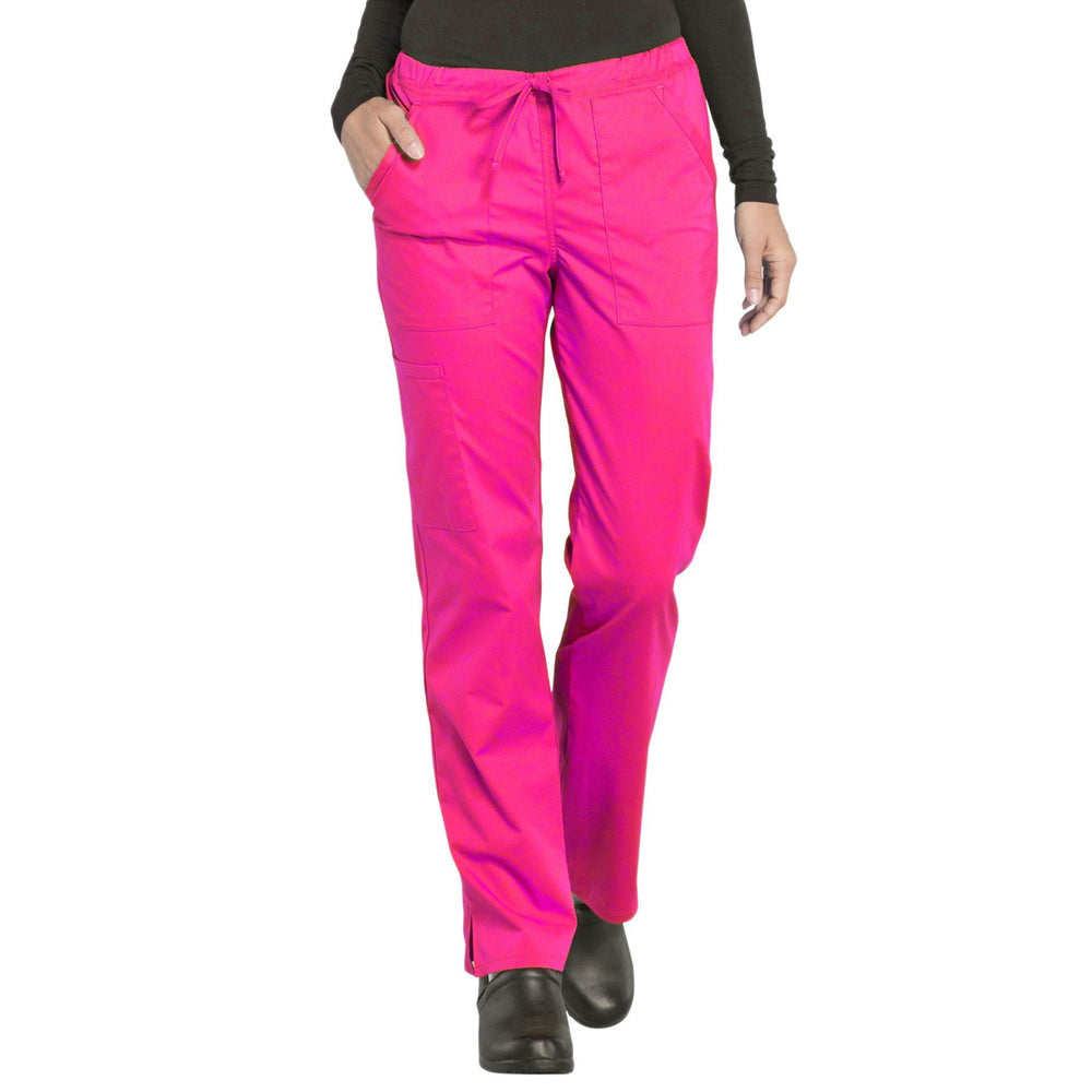 Cherokee Workwear Professionals WW160 Scrubs Pants Women's Mid Rise Straight Leg Drawstring Electric Pink