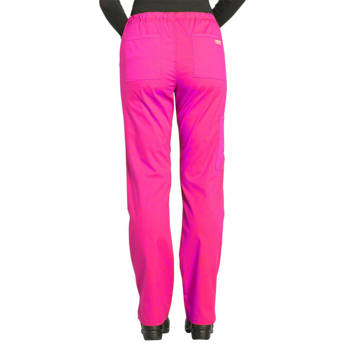 Cherokee Workwear Professionals WW160 Scrubs Pants Women's Mid Rise Straight Leg Drawstring Electric Pink 3XL