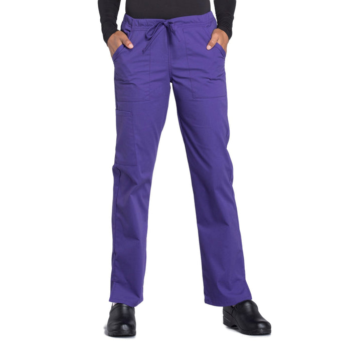 Cherokee Workwear Professionals WW160 Scrubs Pants Women's Mid Rise Straight Leg Drawstring Grape