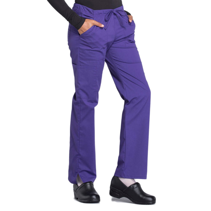 Cherokee Workwear Professionals WW160 Scrubs Pants Women's Mid Rise Straight Leg Drawstring Grape 5XL