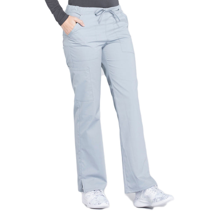 Cherokee Workwear Professionals WW160 Scrubs Pants Women's Mid Rise Straight Leg Drawstring Grey 5XL