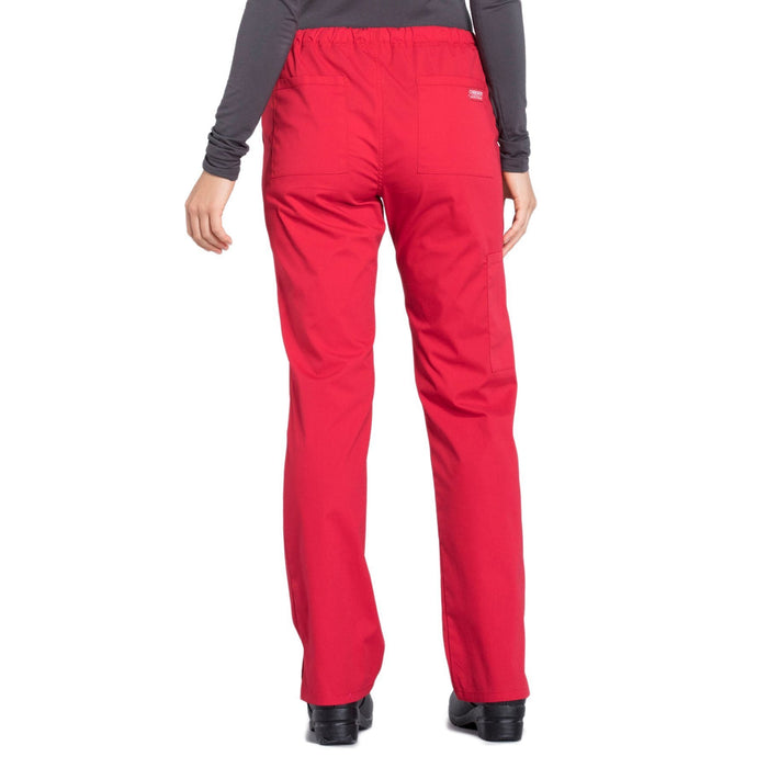 Cherokee Workwear Professionals WW160 Scrubs Pants Women's Mid Rise Straight Leg Drawstring Red 3XL