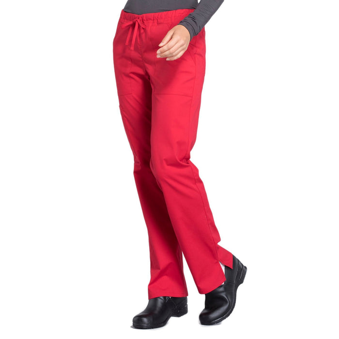 Cherokee Workwear Professionals WW160 Scrubs Pants Women's Mid Rise Straight Leg Drawstring Red 4XL