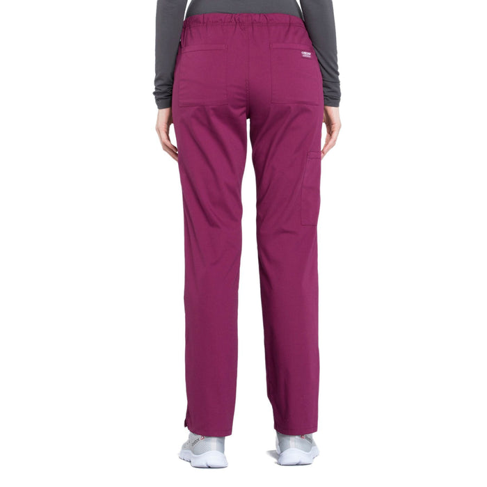 Cherokee Workwear Professionals WW160 Scrubs Pants Women's Mid Rise Straight Leg Drawstring Wine 3XL