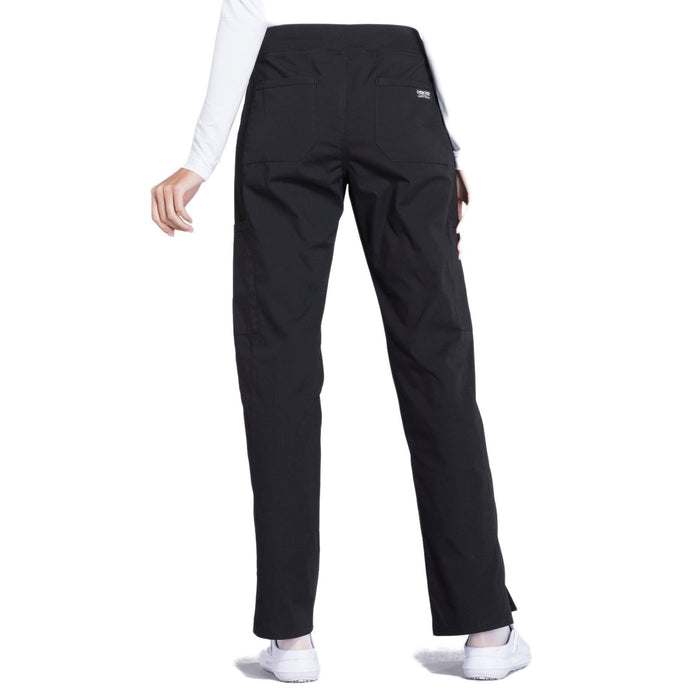 Cherokee Workwear Professionals WW170 Scrubs Pants Women's Mid Rise Straight Leg Pull-on Cargo Black 3XL
